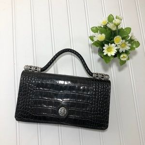 Brighton Black Leather Expandable Clutch/Wallet
